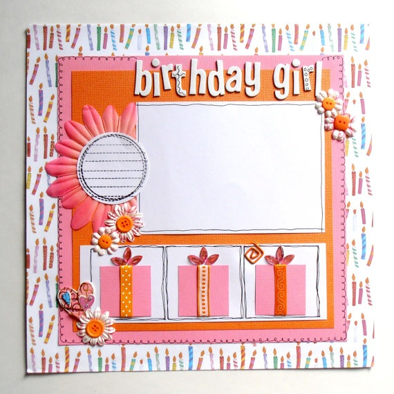 12x12 Premade Scrapbook Page Birthday Girl by TheCroppingBlock, $17.00