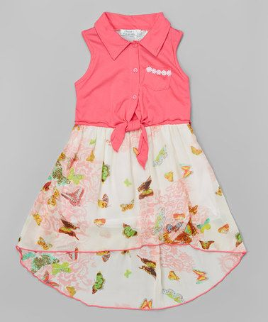 Another great find on #zulily! Neon Pink & Cream Floral Chiffon Hi-Low Dress - Girls #zulilyfinds
