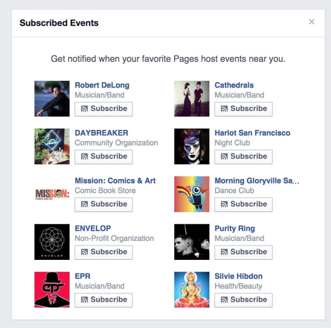 Facebook Helps Musicians With Subscribe Button For Any Page's Nearby Events