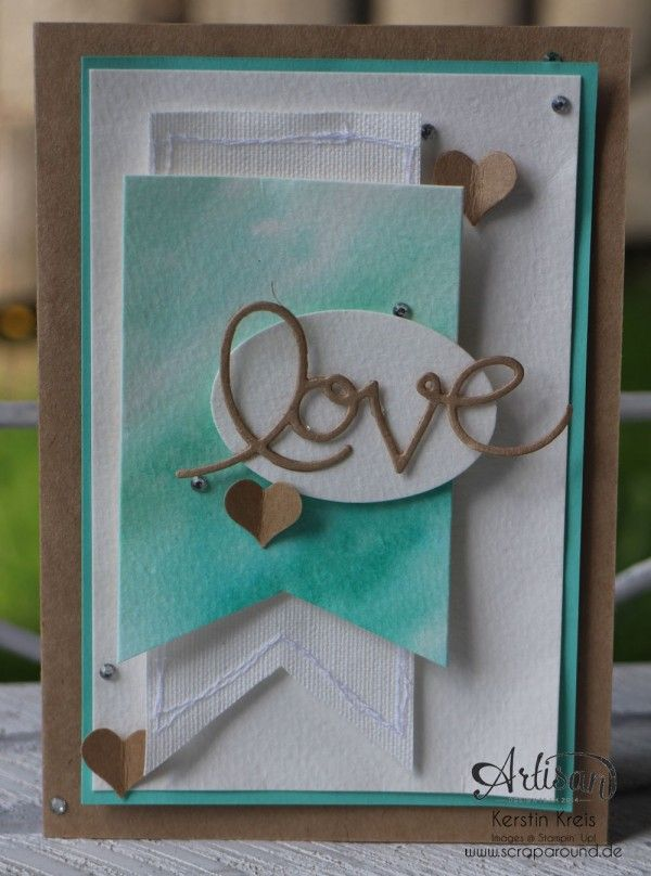 "Stamping & Blogging DT Sketch73 Aquarell-Karte ""love"" mit Kraft-Cardstock und Canvas"