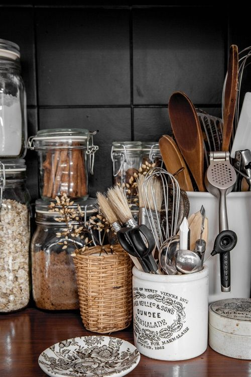 Spice jars and kitchen utensils