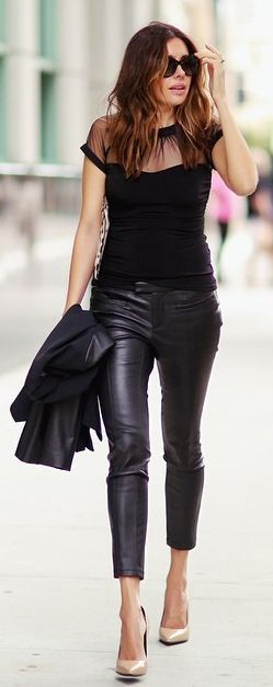 Black Sheer Top, Leather Pants & Nude heels.