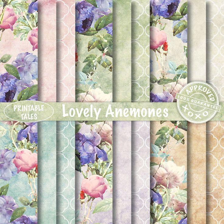Floral digitale papieren bloemen Scrapbook pagina's Anemone Dots was Grungy achtergrond Victoriaanse Instant download onbeperkt commercieel gebruik door PrintableTales op Etsy https://www.etsy.com/nl/listing/246930541/floral-digitale-papieren-bloemen