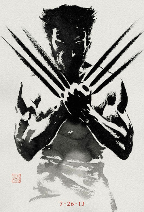 Teaser Poster for The Wolverine  It's great to see 20th Century Fox's marketing department embrace the graphic style of the comics. The shodo brush on rice paper effect is a nice touch.