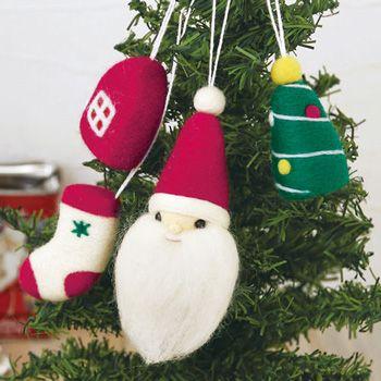 ハマナカ フェルト羊毛キット サンタとクリスマスモチーフのオーナメント H441-401 - 手芸材料 通販・販売 手芸の店 もりお!