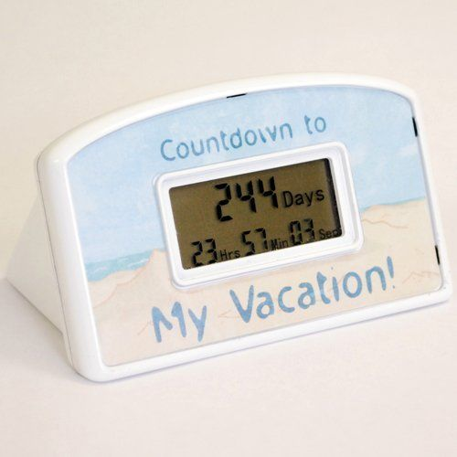 Countdown Timer - Vacation - Beach Theme by BIG MOUTH TOYS. $20.39. Are you dreaming of your toes in the sand and the sound of ocean waves? Wondering how long it will be until your next beach vacation? Count down the hours, minutes and seconds with this desktop countdown clock. The clock is 4 inches wide by 2.5 inches high. Once the clock reaches the milestone, it can be reset to start counting again! Reset it over and over through the year 2099 for years of enjoyment.