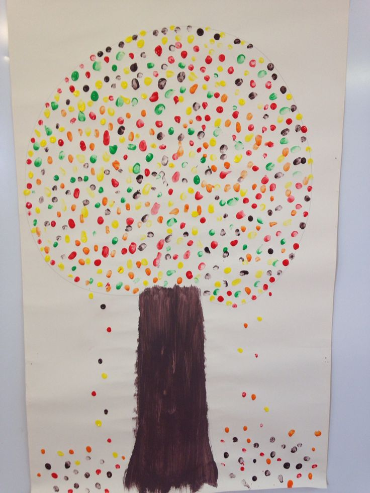 Autumn time. Art: printing. Finger printing. Class display. Junior infants