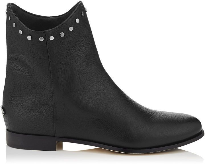 Jimmy Choo MARCO FLAT Black leather Ankle Boots #jimmychooboots