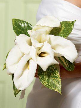 Chic White Calla Lily Bridal Bouquet