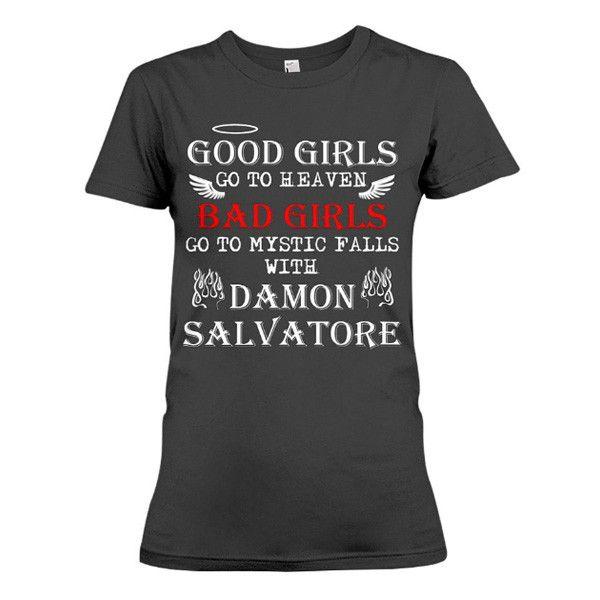 The Vampire Diaries Shirt -Bad girl go to mystic fall with Damon -Women Short Sleeve T Shirt - SSID2016