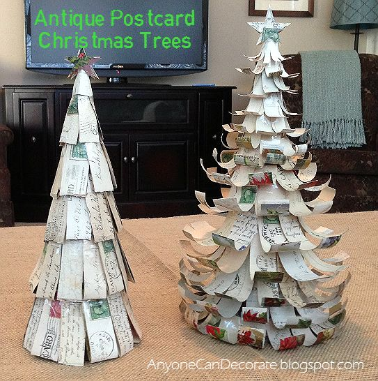 Upcycled Antique Post Cards - Christmas Tree Tutorial