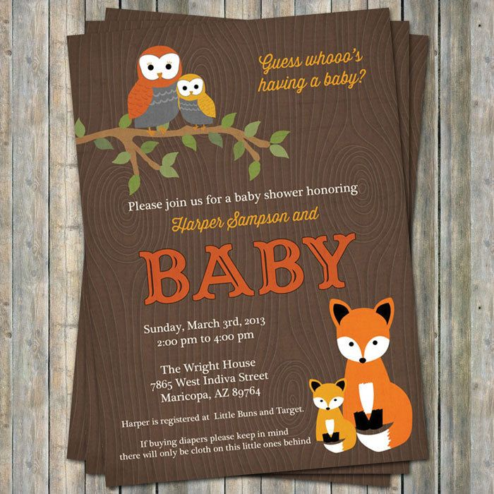 107 best fox or woodland baby shower ideas images on pinterest, Baby shower invitations