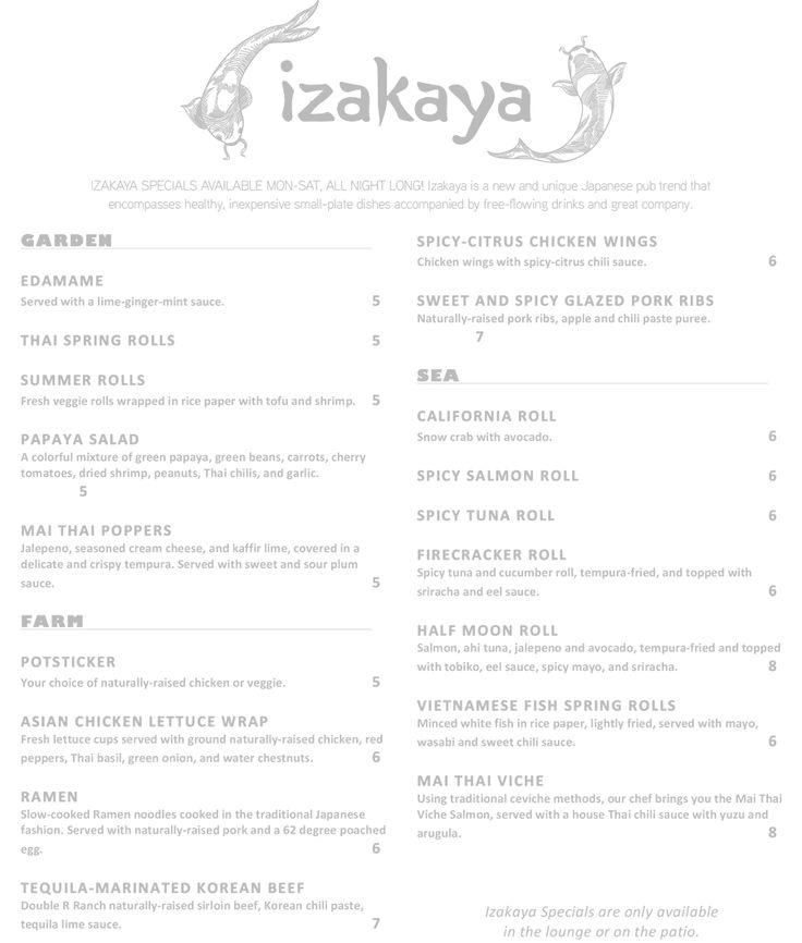 Mai Thai Izakaya Small Plate Specials Menu