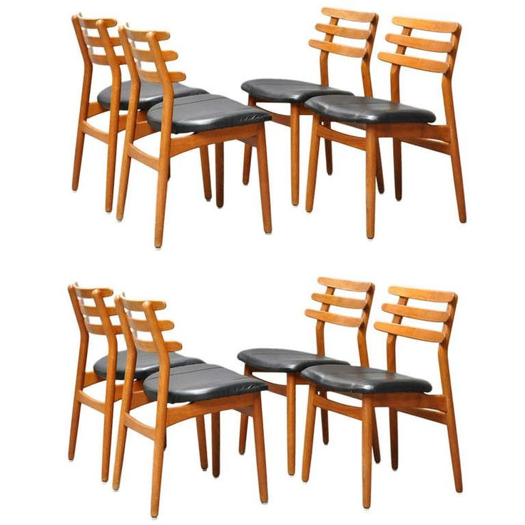 set of eight oak dining chairs by danish designer poul volther