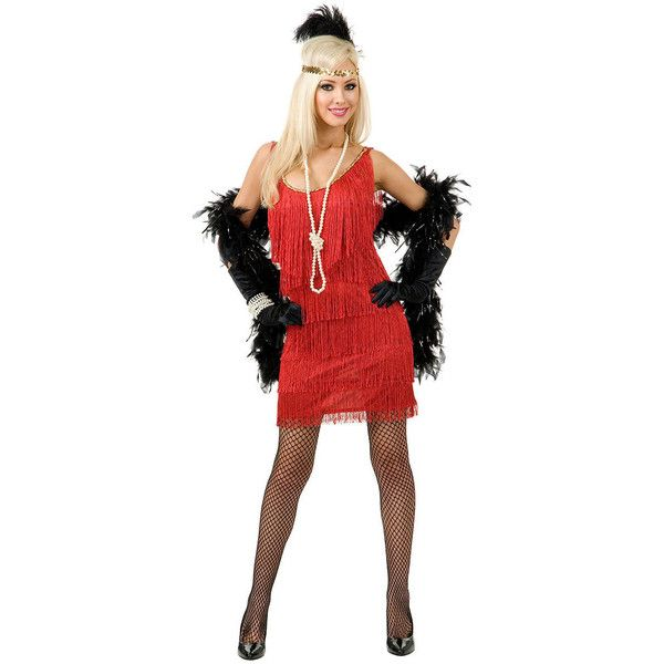 Red Fringe Plus Size Flapper Dress Costume ($60) ❤ liked on Polyvore featuring costumes, plus size flapper costume, womens costumes, plus size halloween costumes, flapper costume and plus size ladies halloween costumes
