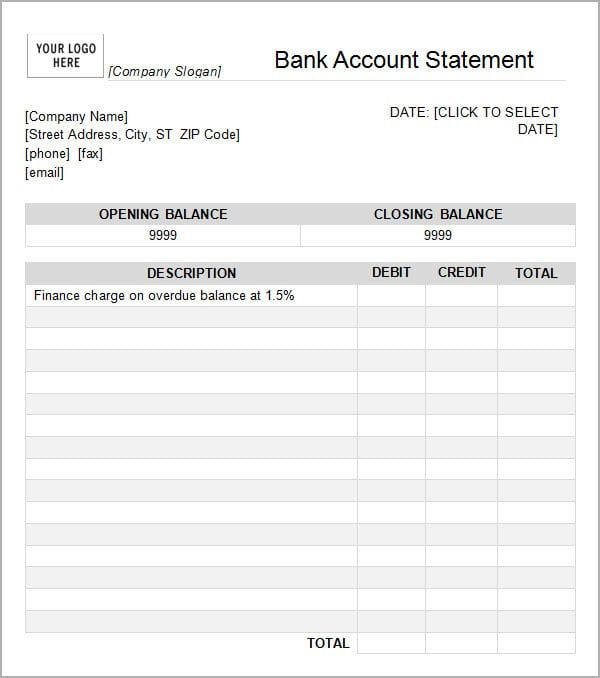 12 Statement Of Account Templates Statement Template Bank