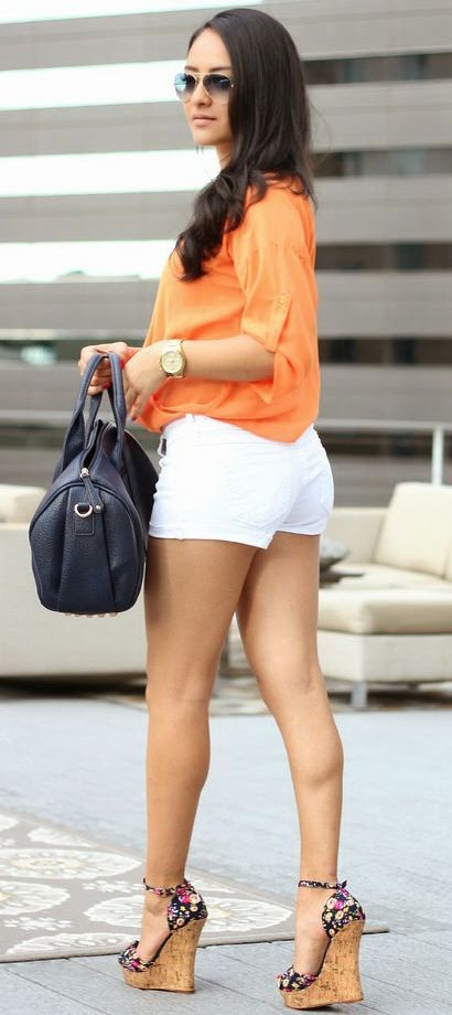 Cute summer style! Tangerine Bebe Top and White Denim Shorts