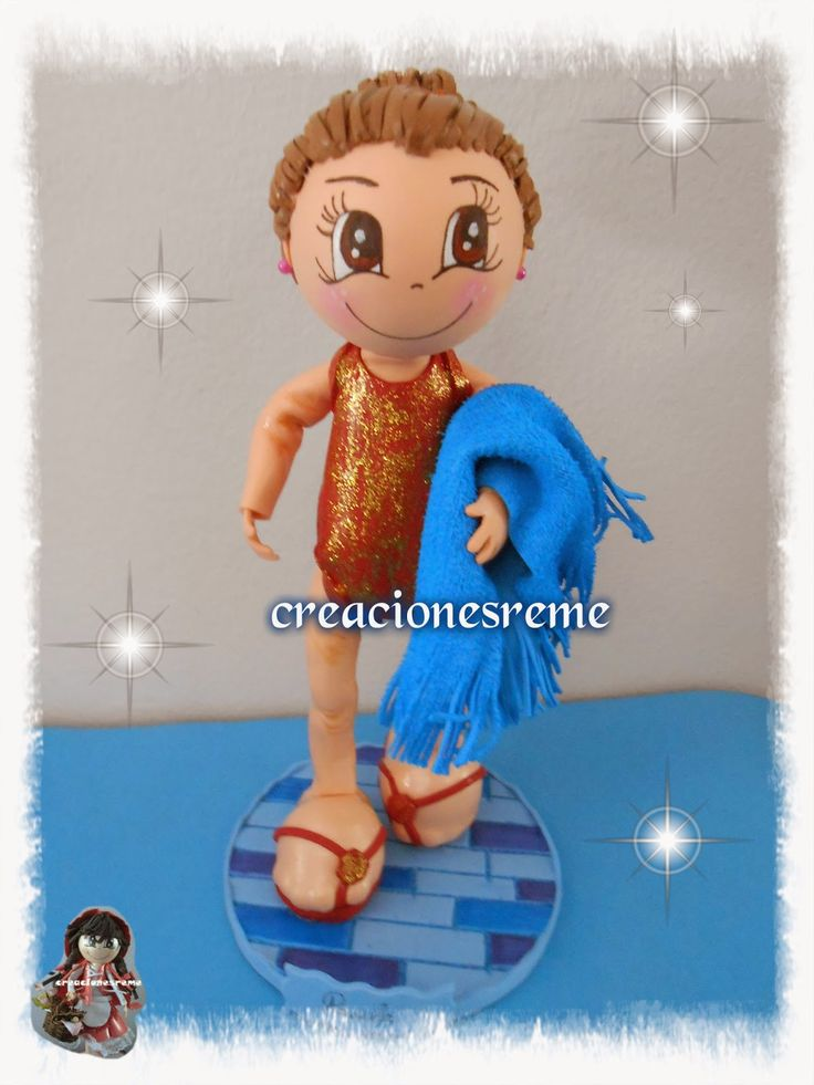muñeca-goma-eva-muñeca-extremeña fofucha nadadora ,bañador ...