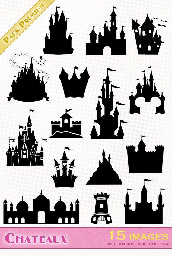 Châteaux/Castles - Fichiers SVG, EPS, DXF et Silhouette Studio