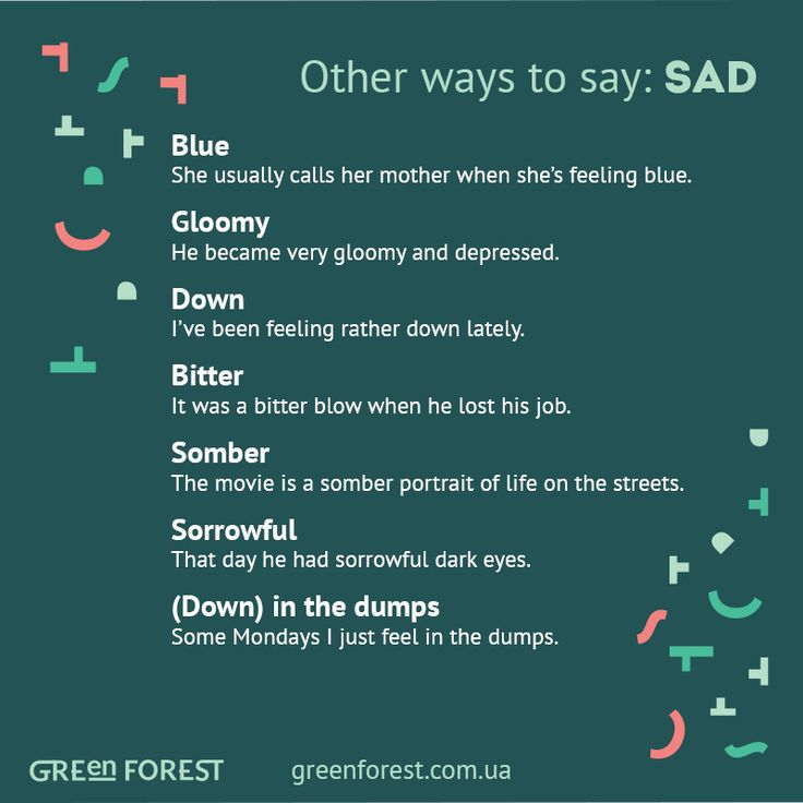 Synonyms to the word SAD Other ways to say SAD