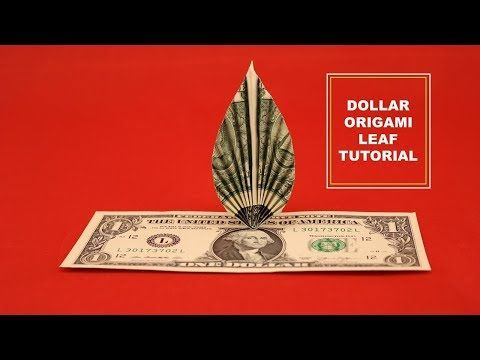 DOLLAR ORIGAMI LEAF, EASY instructions on how to f…