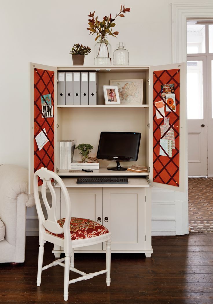 New England home office armoire from the Dormy House- a great piece to hide the desktop and all the bills and papers