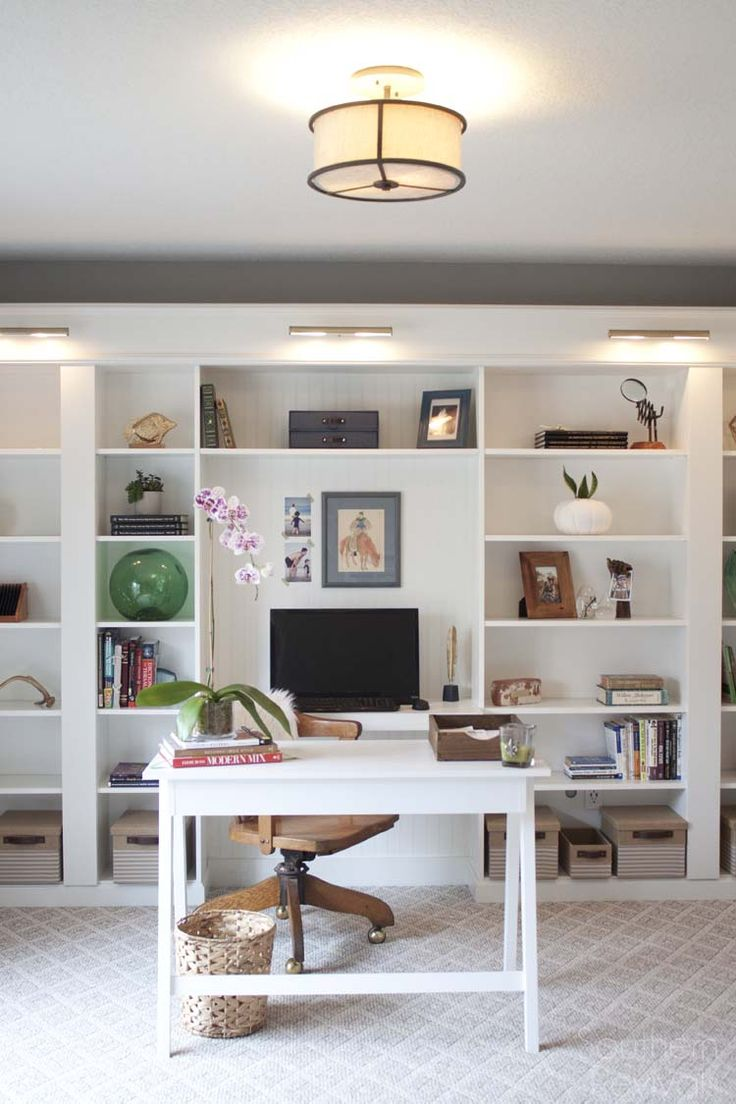 Office Makeover Reveal | IKEA Hack Built-in Billy Bookcases