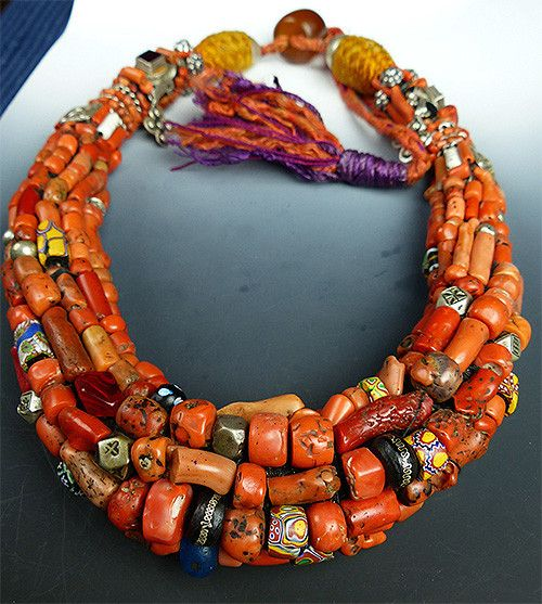 Musuem quality coral berber necklace african jewelry for Jewelry to wear with coral dress