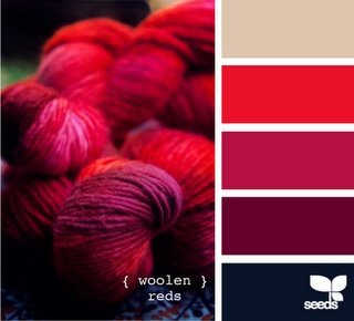 crimson, tan, red, black.  This is the color palette of most of my furniture I currently own.