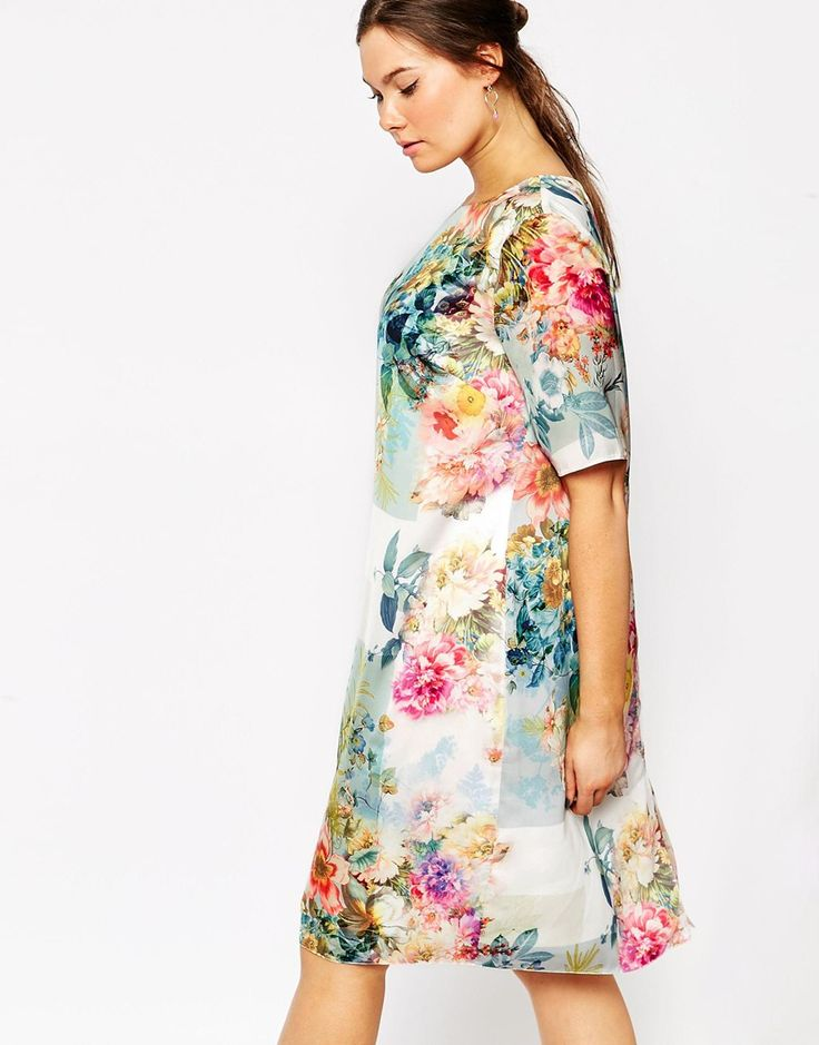 Immagine 3 di ASOS CURVE - SALON - Vestito T-shirt a fiori