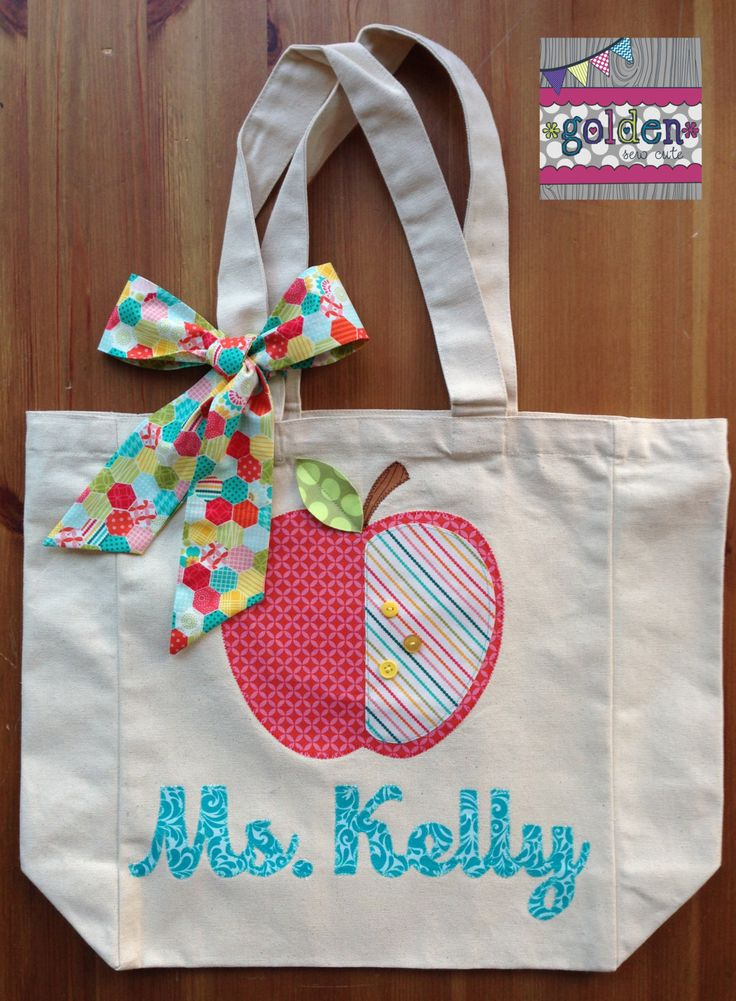 Personalized Name and Apple Teacher Tote Bag with Fabric Bow, Brights by goldenSewCute on Etsy