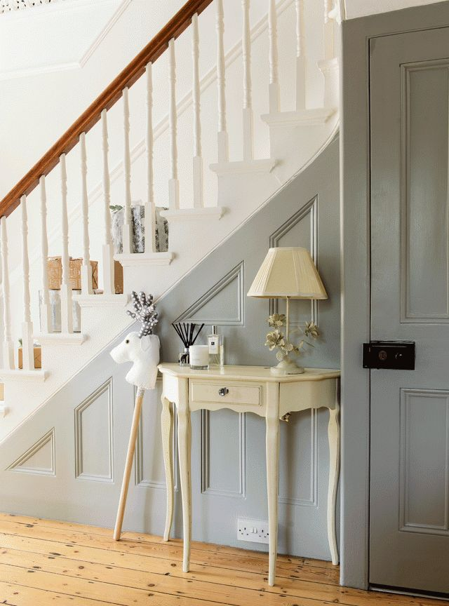 Traditional Hallway with Grey Painted Panelling