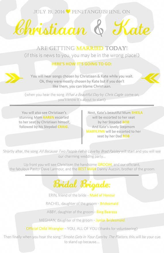 Wedding Timeline Wedding Infographic Printable Wedding Program
