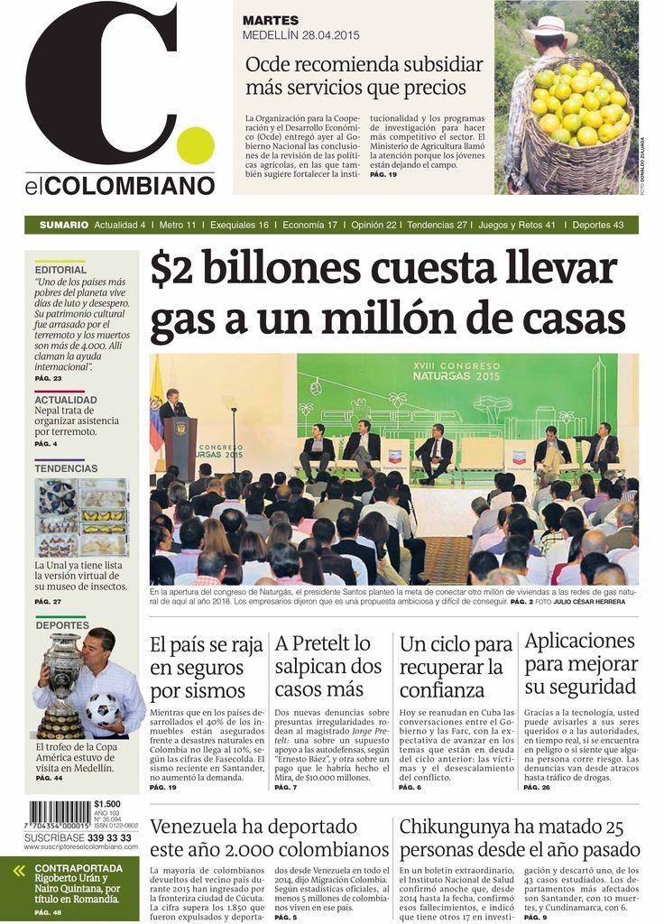 Portada de El Colombiano para el martes 28 de abril de 2014.
