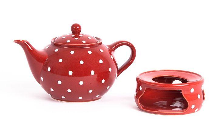 Teekanne Keramik Rot+Weiß - tea pot - herbst- Töpferei - Tee trinken - Stövchen - rot mit weißen Punkten - handgemacht - made in germany - heimatwerke - winter - weihnachtsgeschenk - küche - geschenk - geburtstagsgeschenk - polka dots - red & white