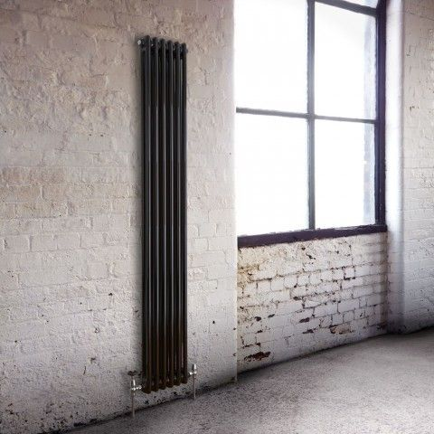 Black Milano Windsor - Vertical traditional radiator - http://www.bestheating.com/milano-windsor-traditional-6-x-2-column-radiator-cast-iron-style-black-1800mm-x-293mm.html