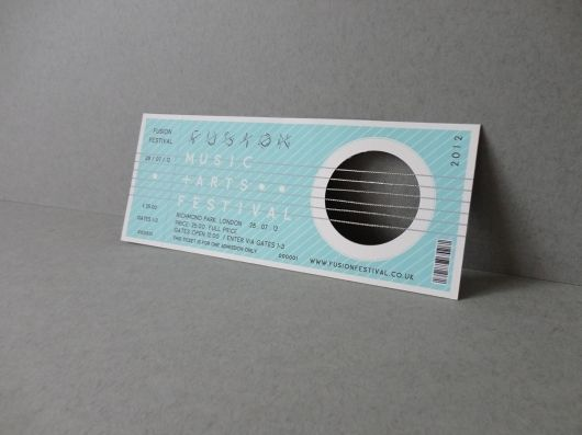 Clever ticket design for a Music & Arts Festival in London.