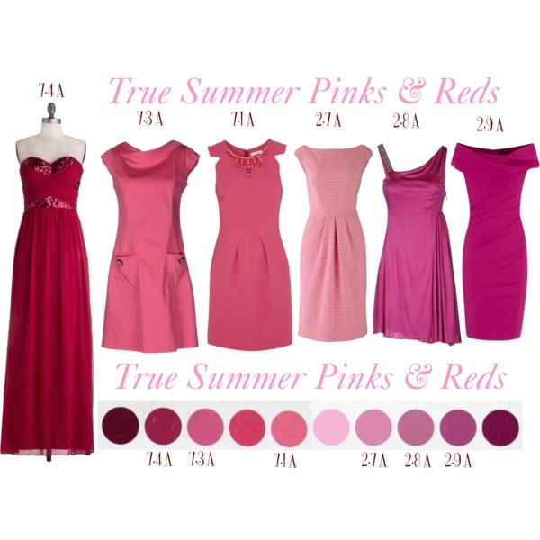 """""""True Summer - Pinks & Reds"""" by lizzycb on Polyvore <--That last one looks a little too saturated to me; better for winter."""