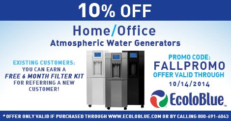 FOR A LIMITED TIME: 10% OFF ECOLOBLUE ATMOSPHERIC WATER GENERATORS  #water #awg #drought #drinkingwater #ecoloblue www.ecoloblue.com