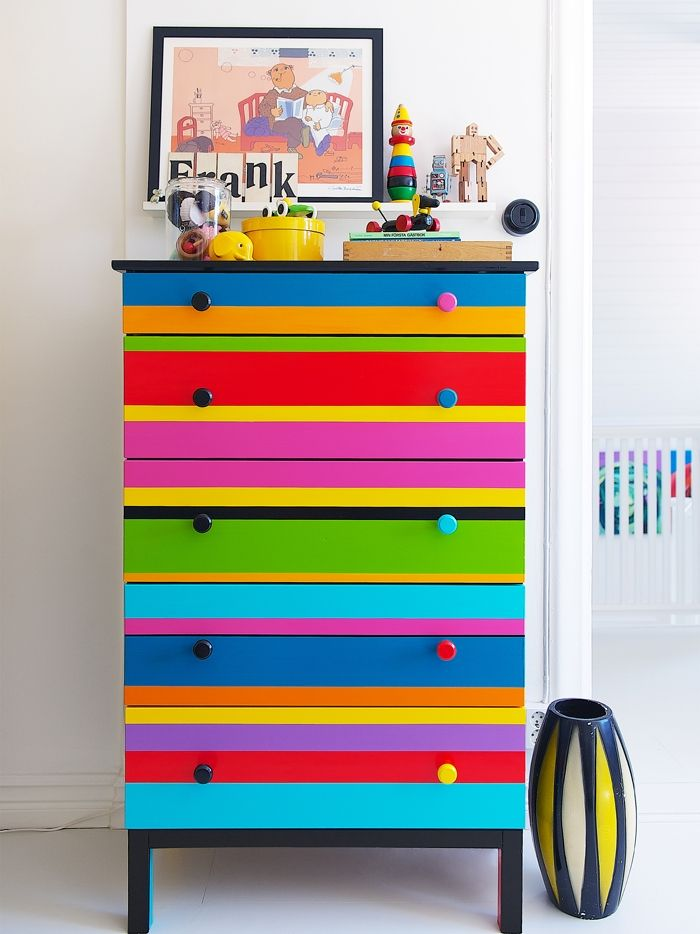 Bright Striped Dresser