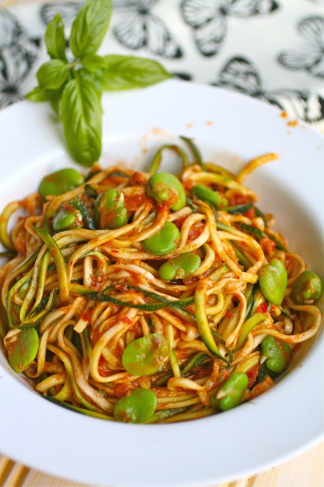 Zucchini Pasta with Fava Beans and Harissa Sauce: full of fresh flavor thanks, in part, to the summer season's bounty of veggies.