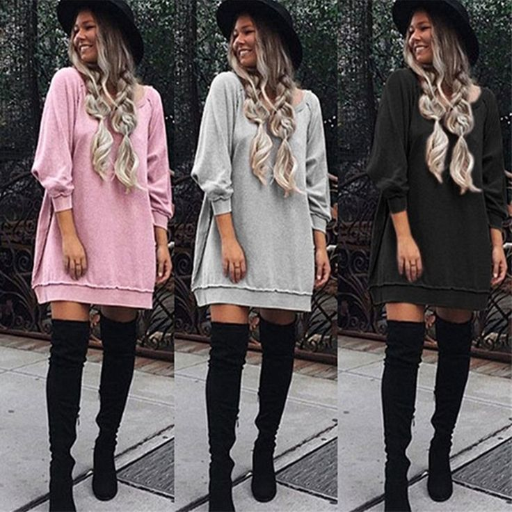 Casual Loose Women Dress Autumn Plus Size Women Clothing Long Sleeve O Neck Hoodies Dress Female Christmas Dresses