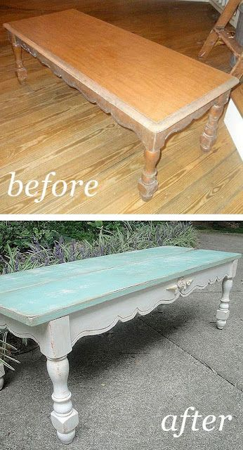 Not bad for a new coffee table for our porch that essentially cost me NOTHING, since I already had all the paint and supplies leftover from other projects. What do you think? Do you like her color? Or too baby blue for you?