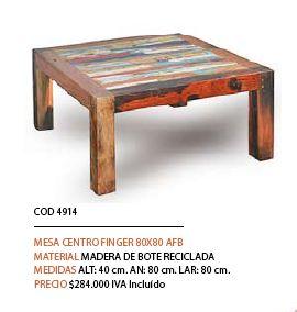 mesa de centro madera reciclada