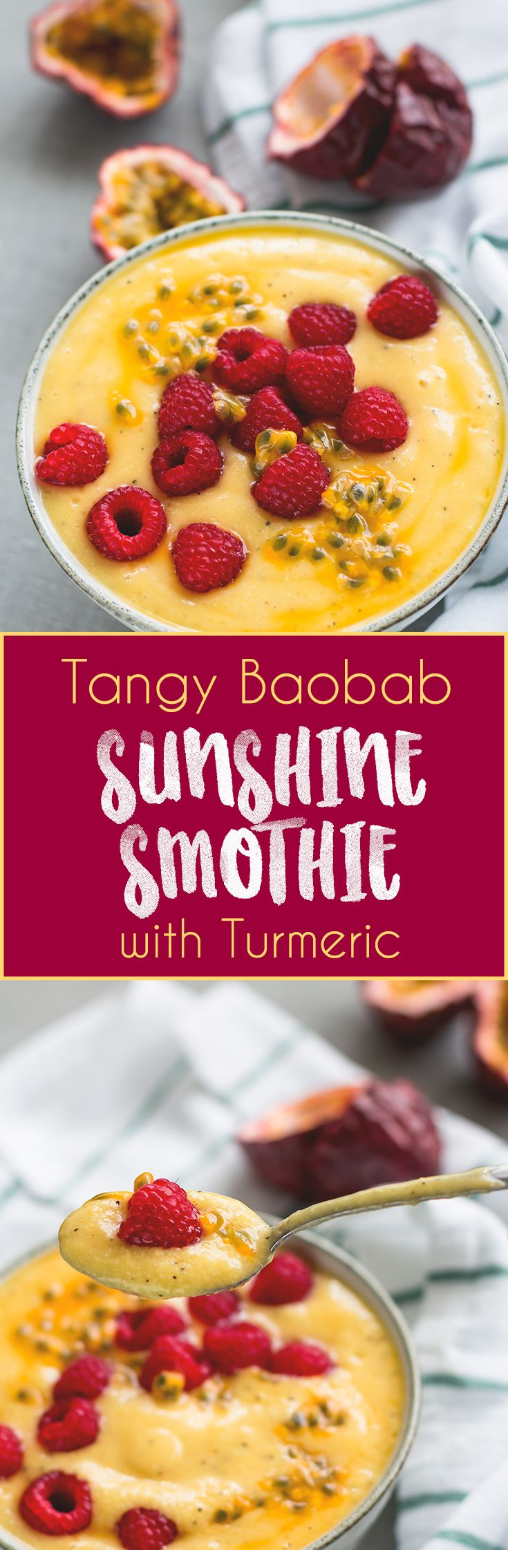 Tangy Baobab Sunshine Smoothie - the perfect summer smoothie! I love this recipe, it's easy, delicious, and filling. Baobab, mango, pineapple, passion fruit, and turmeric. So GOOD! | thehealthfulideas.com