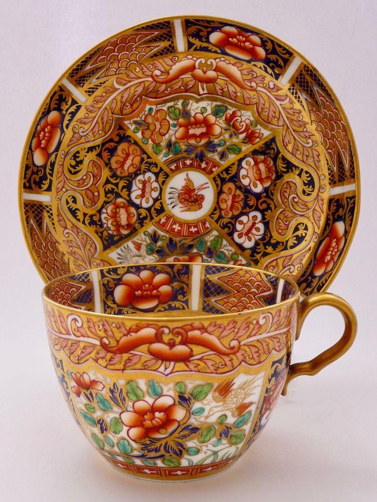 Spode 'Imari' teacup & saucer, 1809 スポード リッチな装飾の '金襴手' ティーカップ&ソーサー 1809年