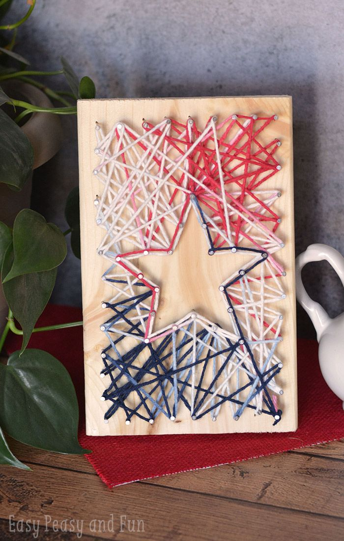 String Art Star - Such a cool 4th of July craft for kids