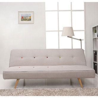 Banquette clic-clac tissu 2 places beige, passepoi bleu, boutons de capitonnage multi-couleur + pieds bois LAURENE Delamaison.fr 189€ soldé