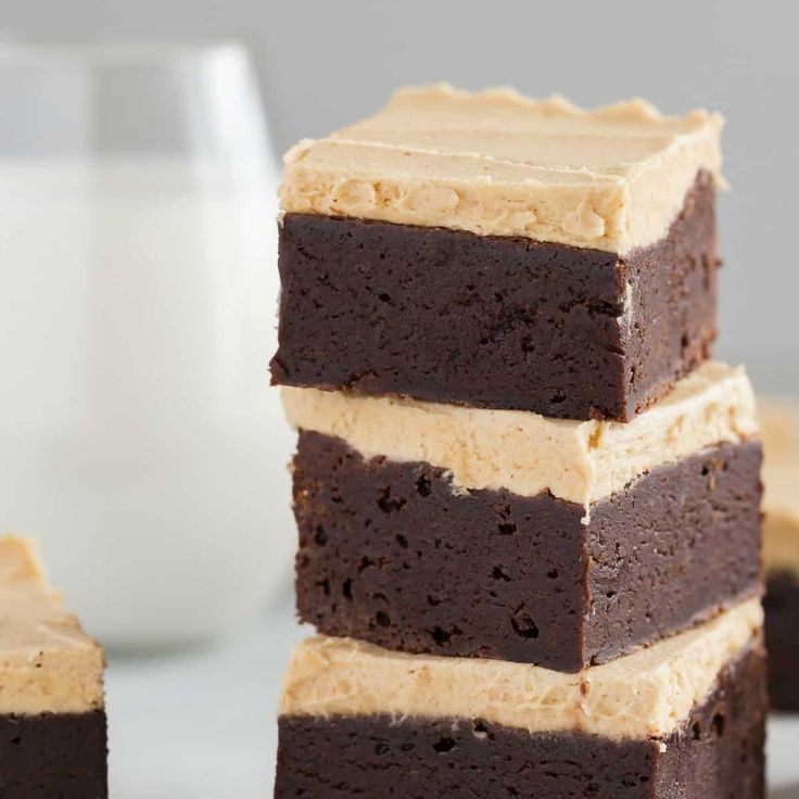Fudgy Brownies with Peanut Butter frosting are ridiculously delicious. A thick layer of creamy peanut butter frosting take these brownies right over the edge.