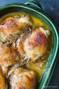 Chicken thighs baked in a simple honey mustard sauce until golden brown, with sprigs of rosemary. ~ SimplyRecipes.com